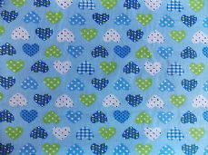 Hearts dotty hearts fabric polycotton print per 1 metre blue and green
